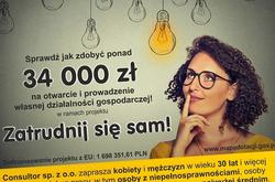 """Nabór wniosków na uruchomienie i prowadzenie własnej działalności gospodarczej w projekcie """"Zatrudnij się sam!"""""""
