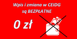 Rejestracja w CEIDG jest wolna od opłat
