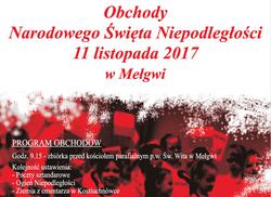 Zapraszamy na obchody Narodowego Święta Niepodległości w Mełgwi.